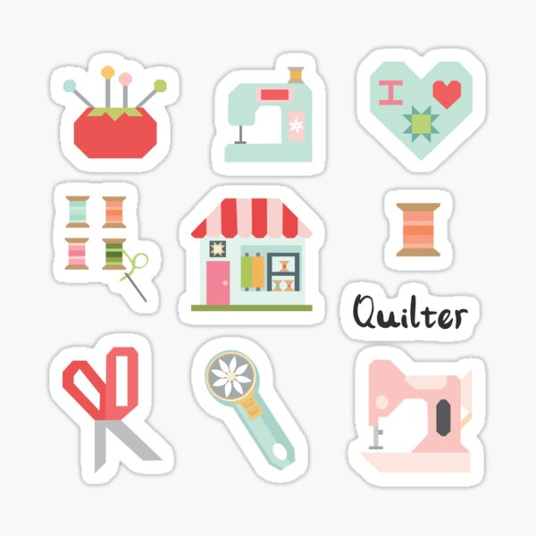 Quilter Sticker Pack : Quilt shop, pincushion, sewing machine, thread, scissors, rotary cutter, heart **NOTE** Medium Size and larger recommended for sticker packs**  Sticker