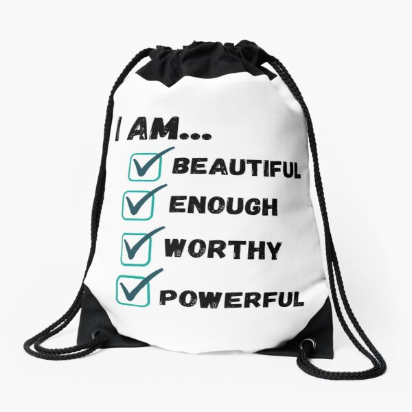 I am Affirmation Checklist Drawstring Bag