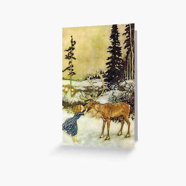 Gerda and the Reindeer - Edmund Dulac Greeting Card