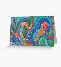 Alien Squids Caught in Abstractions Greeting Card
