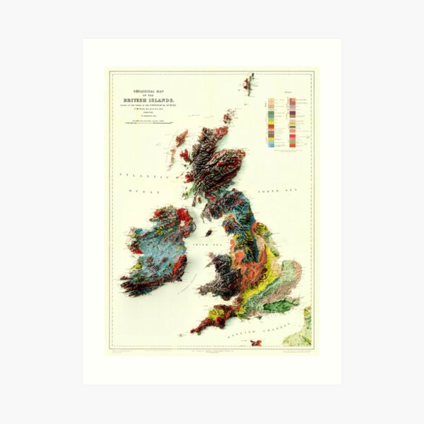 1912 3D Ireland, British Islands and England Geological Map digitally rendered  Art Print