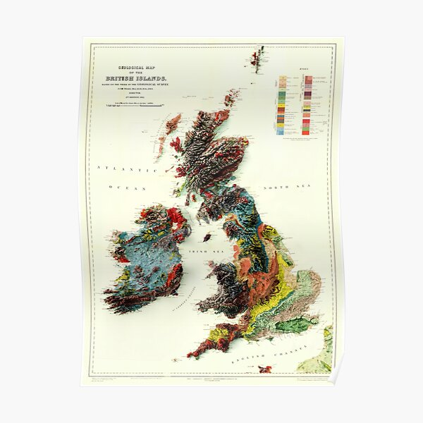 1912 3D Ireland, British Islands and England Geological Map digitally rendered  Poster
