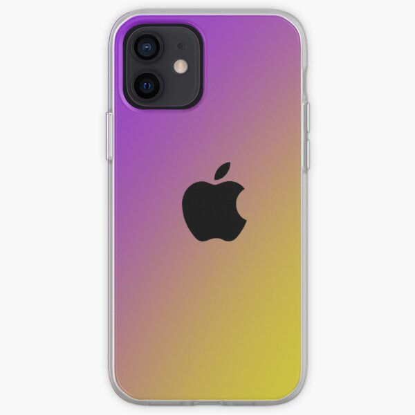 Diseño de logotipo de Apple morado y amarillo Funda blanda para iPhone