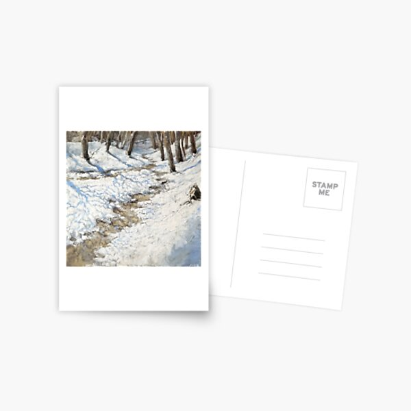 Snowy Path - Fine Art, Painting Postcard