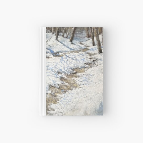 Snowy Path - Fine Art, Painting Hardcover Journal