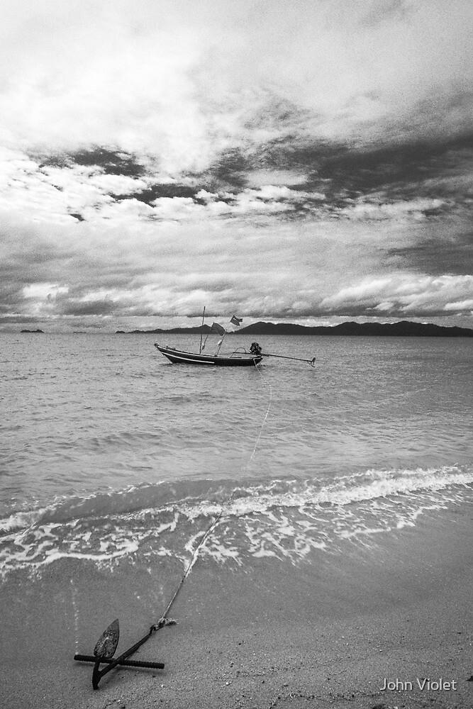 Anchored Boat by John Violet