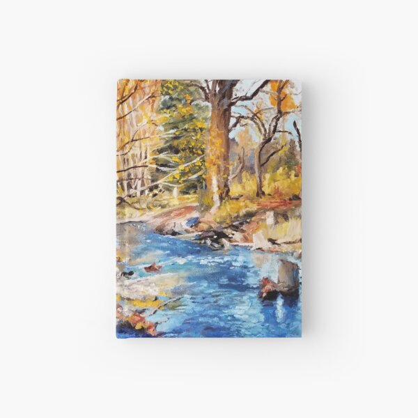 Fall by the Water - Fine Art, Landscape Painting Hardcover Journal