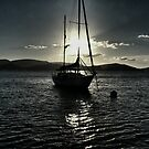 Yacht at Sunset by Mark Batten-O'Donohoe
