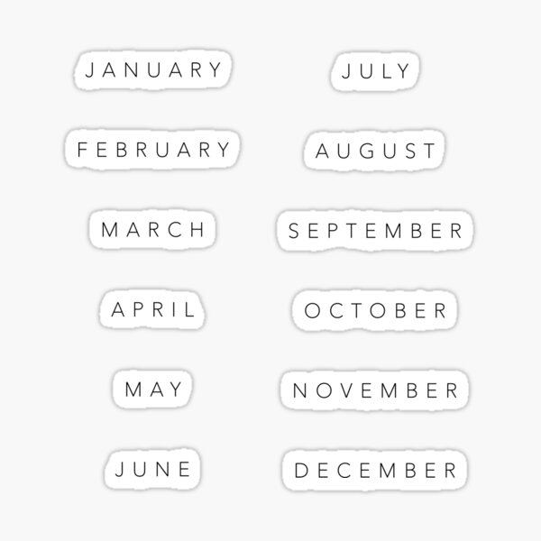 Months of the year Sticker