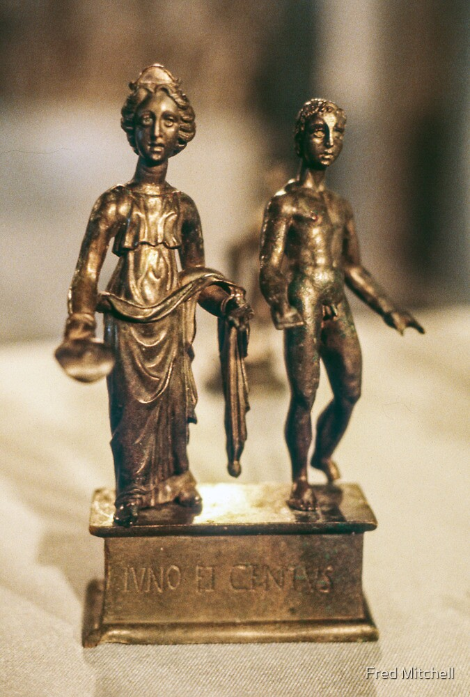Juno and Genius bronze Age sculptur Cote d'Or Cultural Museum Dijon France 19840430 0020 by Fred Mitchell