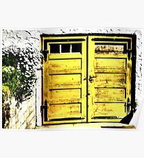 Old wooden garage door Poster
