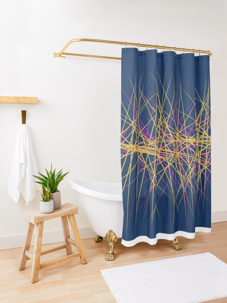 Alternate view of Spiny Golden Glow Magenta Shower Curtain