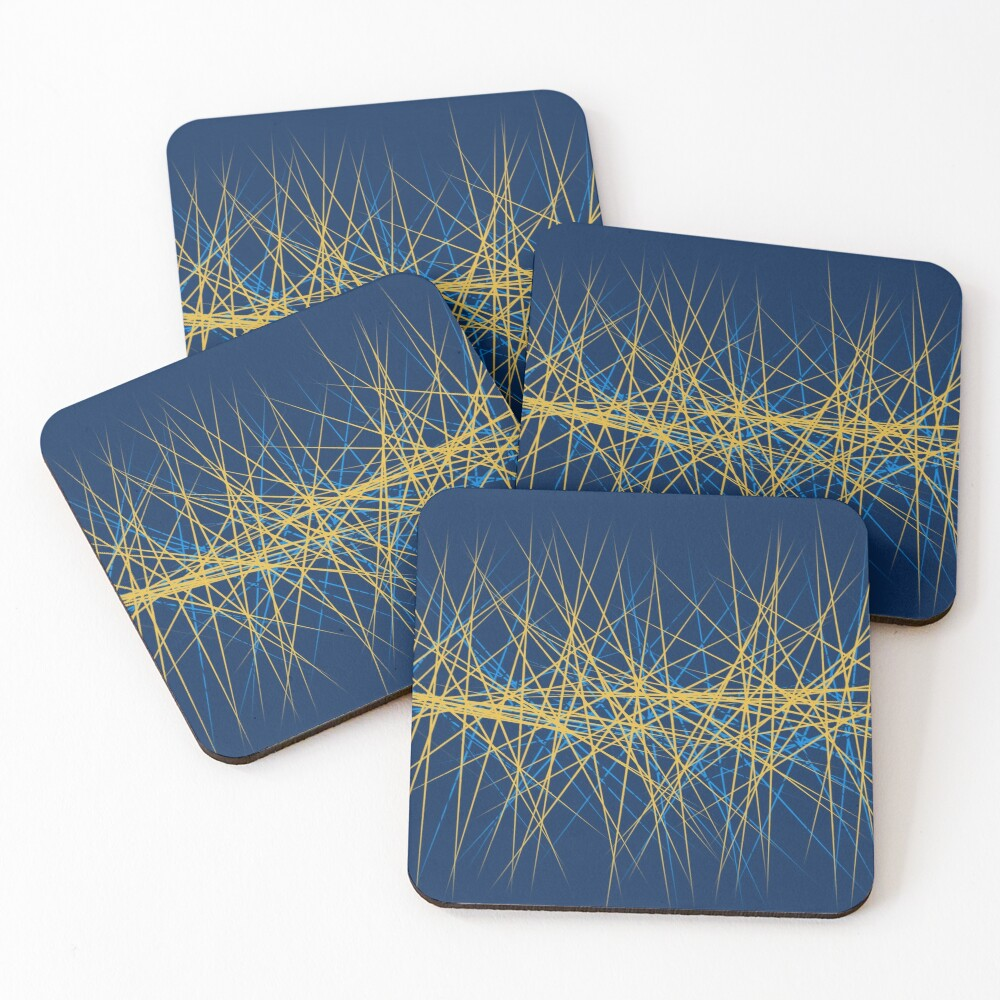 Spiny Golden Glow Blue Coasters (Set of 4)