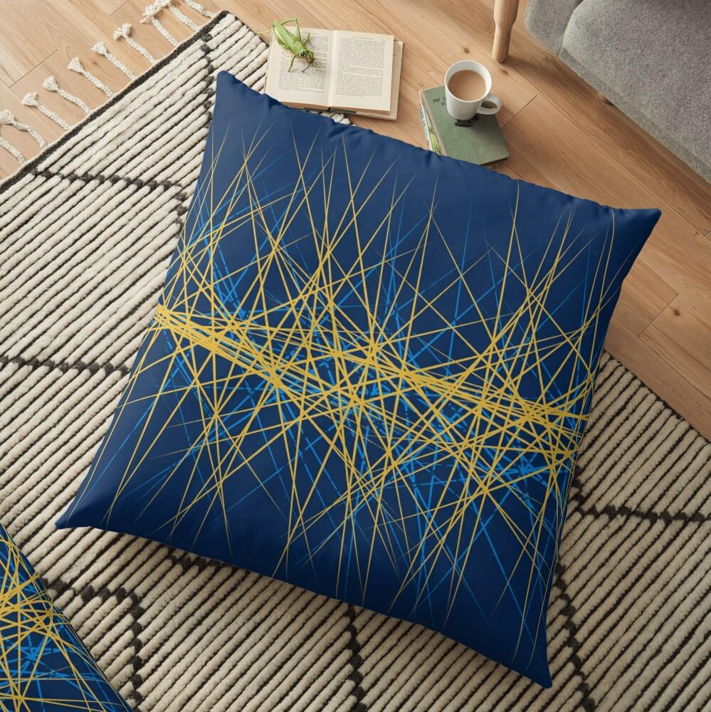 Spiny Golden Glow Blue Floor Pillow