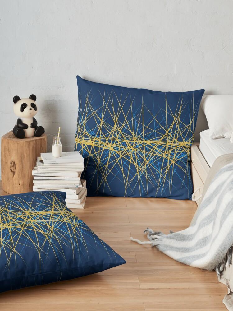 Alternate view of Spiny Golden Glow Blue Floor Pillow