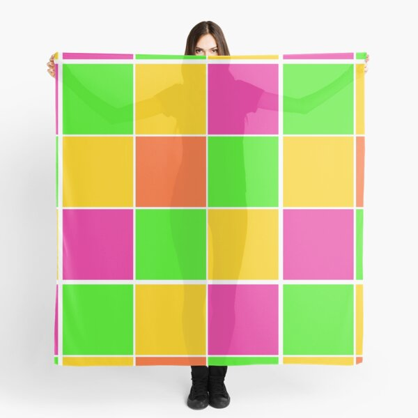Sprouse inspired color blocks-checkered blocks-pop art Scarf