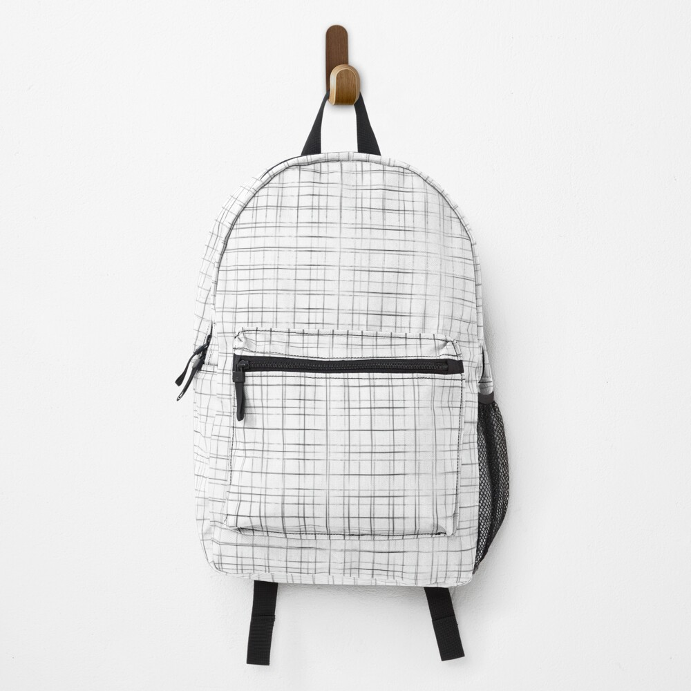 White double grid print Backpack