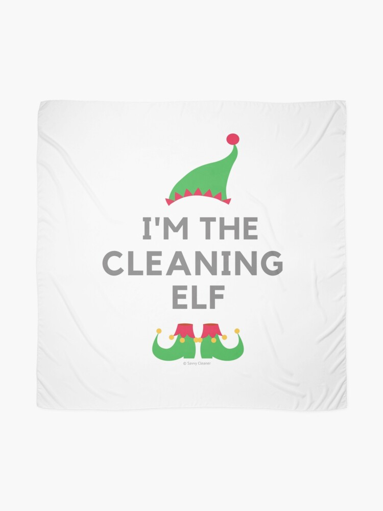Alternate view of The Cleaning Elf, Funny Cleaning Humor Scarf