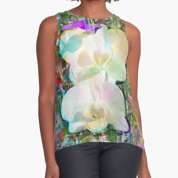 White Orchids Sleeveless Top