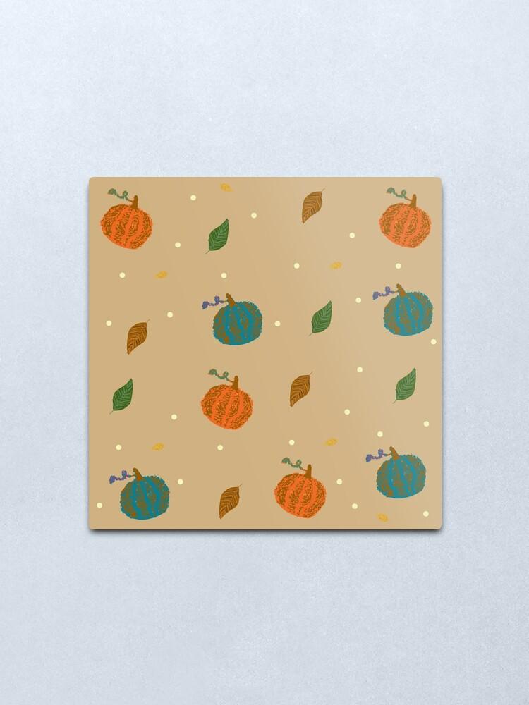 Alternate view of Pumpkins and Leaves Metal Print