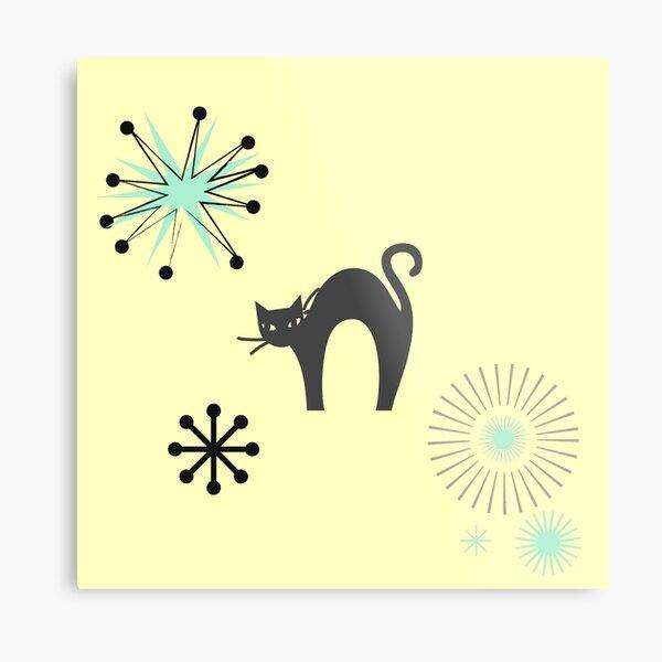 Black Cat & Jax-vintage cat-mid century cat Metal Print