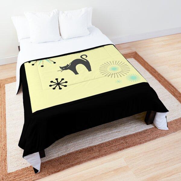 Black Cat & Jax-vintage cat-mid century cat Comforter