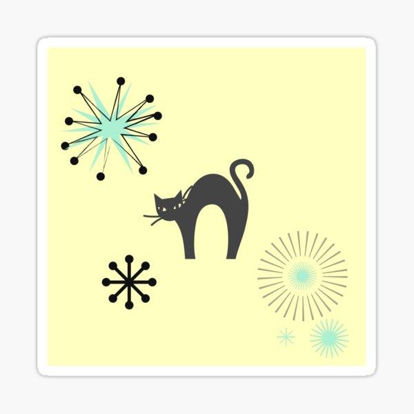 Black Cat & Jax-vintage cat-mid century cat Sticker