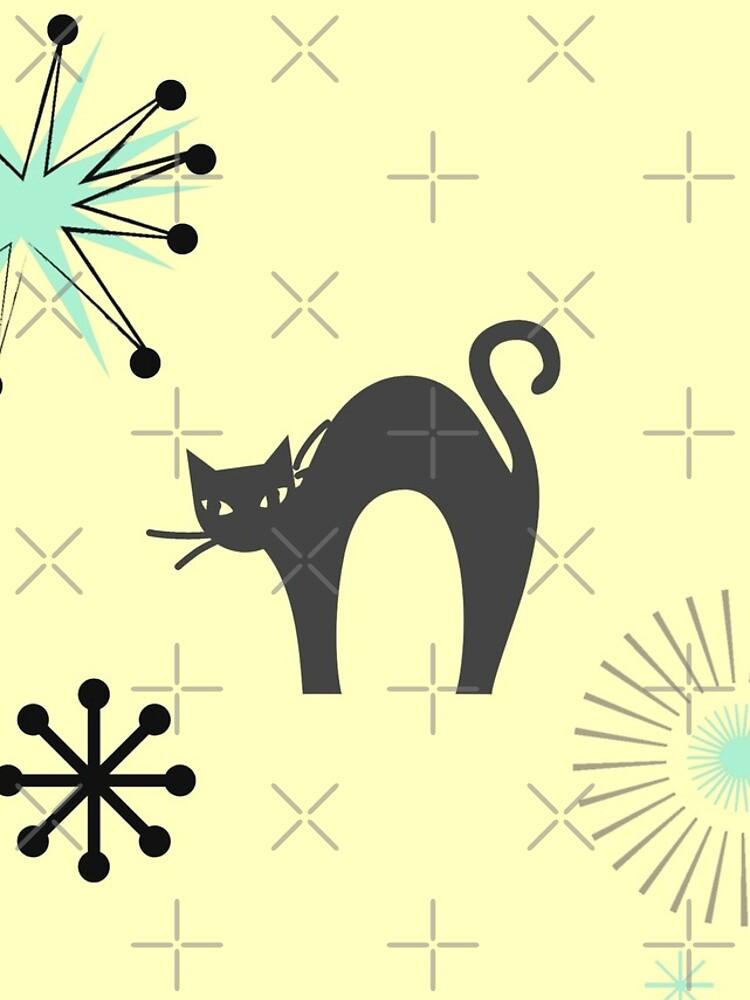 Black Cat & Jax-vintage cat-mid century cat by Matlgirl