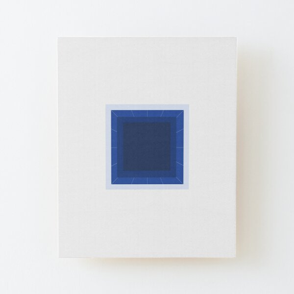 Aware of a blue square Wood Mounted Print