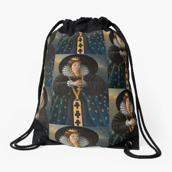 Queen of Clubs by Avril Thomas Drawstring Bag