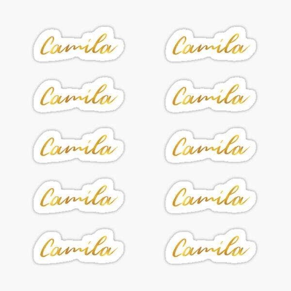 Letras de mano del nombre de Camila en letras doradas falsas, paquete de 10 Pegatina