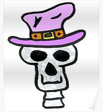 Crazy Skull Cartoon Poster