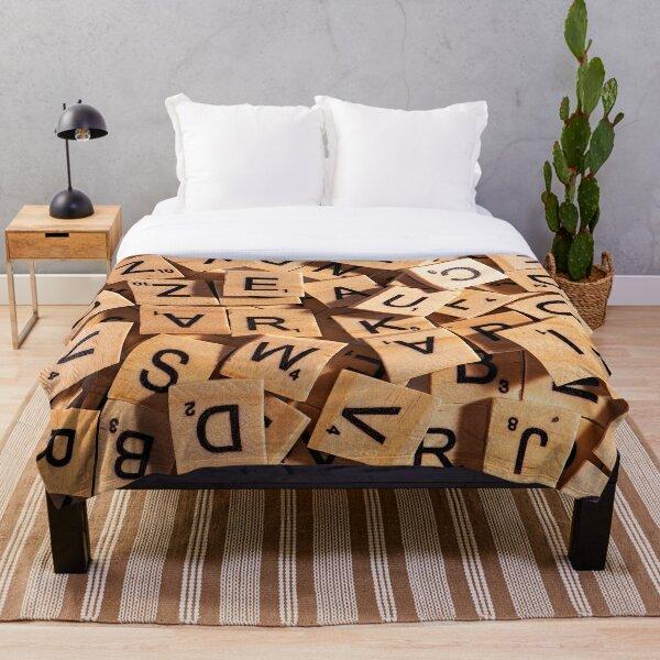 Wooden Letter Tiles Throw Blanket