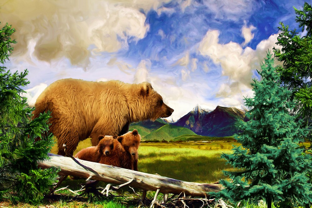 3 Grizzlies - Bears in Montana by andabelart