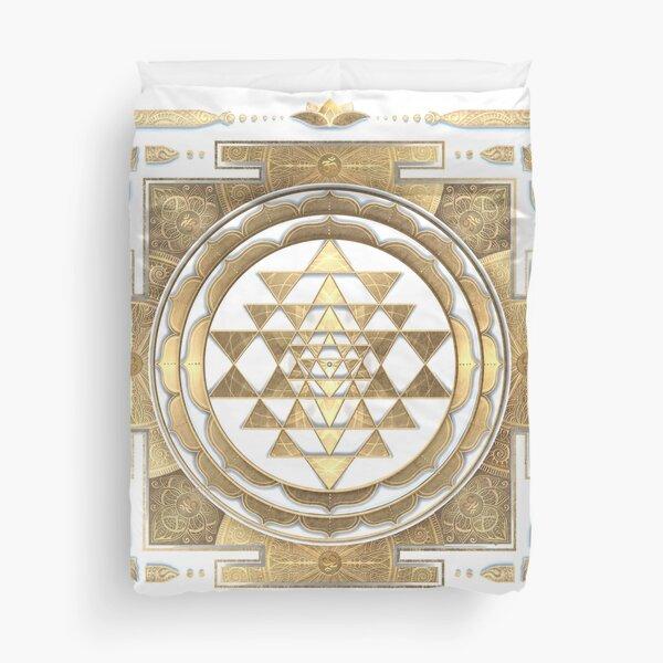 GOLDEN SRI YANTRA (white background) Duvet Cover
