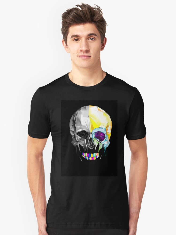 Graphic Geometric Low Poly Skull Design Unisex T-Shirt Front
