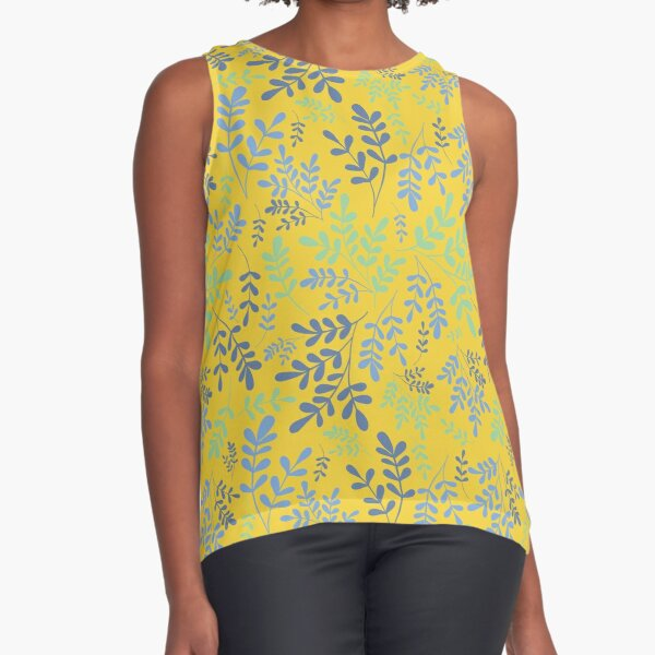 Yellow background with simple geometric blue leaves Sleeveless Top