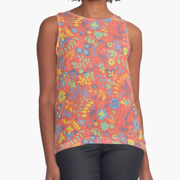 Modern floral pattern on red with blue and yellow Sleeveless Top