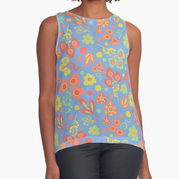 Modern daisy floral pattern on blue with red, green and yellow Sleeveless Top