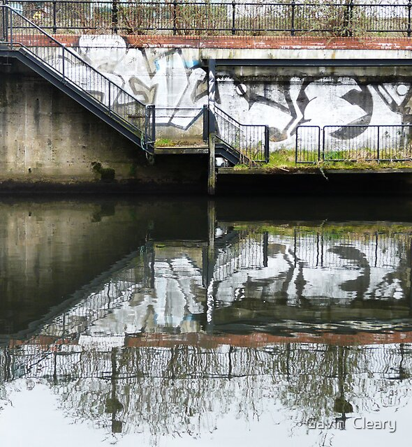 Manchester Canal Reflection Street Art Graffiti  by Gavin  Cleary