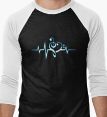 MUSIC HEART PULSE, Love, Music, Bass Clef, Treble Clef, Classic, Dance, Electro Men's Baseball ¾ T-Shirt