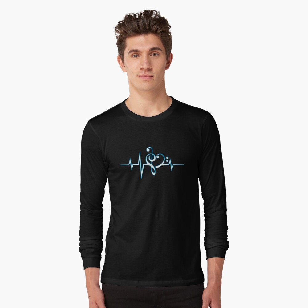 MUSIC HEART PULSE, Love, Music, Bass Clef, Treble Clef, Classic, Dance, Electro Long Sleeve T-Shirt Front