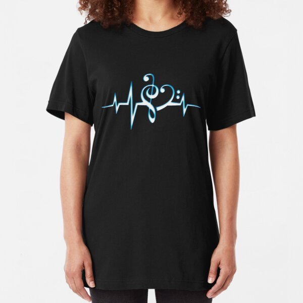 MUSIC HEART PULSE, Love, Music, Bass Clef, Treble Clef, Classic, Dance, Electro Slim Fit T-Shirt