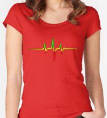 Music Pulse, Reggae, Sound Wave, Rastafari, Jah, Jamaica, Rasta Women's Fitted Scoop T-Shirt
