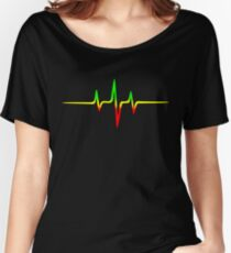 Music Pulse, Reggae, Sound Wave, Rastafari, Jah, Jamaica, Rasta Women's Relaxed Fit T-Shirt