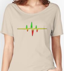 Music Pulse, Reggae, Sound Wave, Rastafari, Jah, Jamaica, Rasta Women's Relaxed Fit T-Shirt