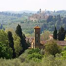 landscape of churches south of Florence Italy  by TerrillWelch