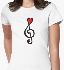 MUSIC CLEF HEART, Love, Music, Treble Clef, Classic Womens Fitted T-Shirt