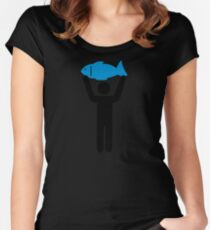 Angler blue fish Women's Fitted Scoop T-Shirt