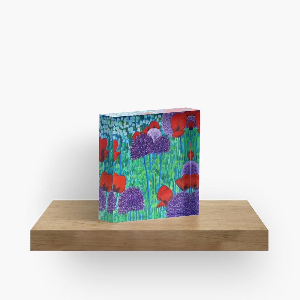 Poppies and alliums Acrylic Block